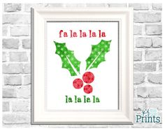 Check out this merry little Christmas decor art featuring a decorative Christmas holly and the words Fa La La! This Christmas holly printable is a piece of holiday and Christmas decor that you will love to display in your home for years to come! Add a splash of festive color with this red and green holly silhouette with these fun song lyrics to your decorative displays!  -Technical Details- This product comes as a .jpeg file. It is sized at 8x10. -About Your Order- All of KFPrints products…