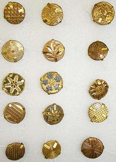 French Buttons, 1780, wood, bone, metal  A few classic passementerie designs have been copied here.