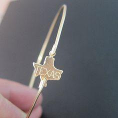 Texas State Bracelet, Gold Texas Bracelet, Texas Bangle Bracelet, Texas Charm Bracelet, State of Texas Bracelet, State of Texas Jewelry