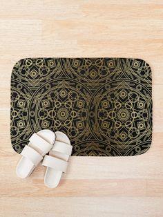 'Mystical Black Gold' Bath Mat by Shane Simpson Bath Mat Design, Bath Mats, Iphone Wallet, Black Gold, Mystic, Retro, Prints, Stuff To Buy, Bags