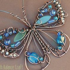 Blue Butterfly Suncatcher, Handmade Window Decoration With Copper And Gemstone Beads Copper Wire Art, Copper Jewelry, Wire Jewelry, Jewellery, Copper Metal, Wire Earrings, Wire Crafts, Metal Crafts, Jewelry Crafts