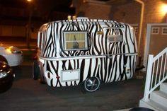 Zebra Black White Vintage Trailer.  I'd like a leopard print one!