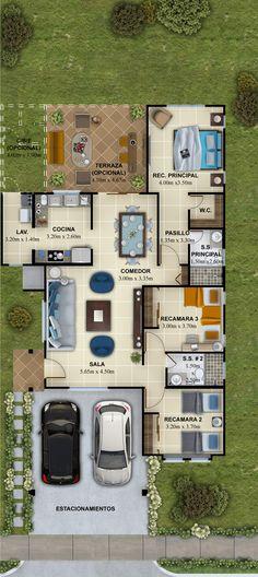 Sunset_Planta_Sofia_min - The Hills Modern House Floor Plans, Sims House Plans, House Layout Plans, House Layouts, Small House Plans, Pool House Designs, Backyard Pool Designs, Studio Apartment Plan, Building A Carport