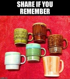 """mugs- before everything got """"super-sized"""" {GM} 1970s Childhood, Childhood Memories, Nostalgia 70s, Back In The 90s, I Remember When, Ol Days, Good Ole, Sweet Memories, The Good Old Days"""