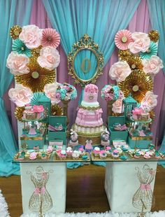 Pink and blue baby shower | CatchMyParty.com