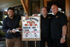 """Adam Richman (from Man vs. Food) stopped by Phil's April 17th. Here he is """"hamming"""" it up with Jeff and Phil!"""