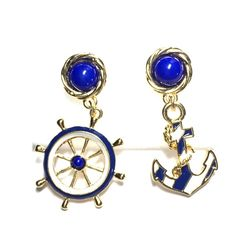 Nautical earrings anchor ships wheel Nautical earrings  blue and white ships…