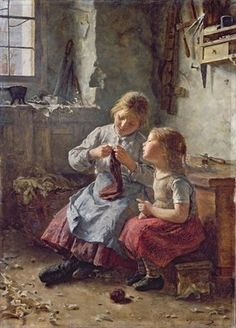 Knitting, 1891 (oil on canvas) Postcards, Greetings Cards, Art Prints, Canvas, Framed Pictures, T-shirts & Wall Art by Simon Glucklich