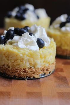 Mini Coconut Cream Pies with a double dosing of shredded coconut. .  because you can never have too much coconut.