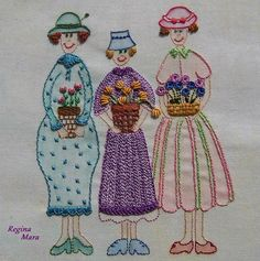 My Flower Girls - inspired by a pattern from the Book A Gardner's Journal by Anni Downs.