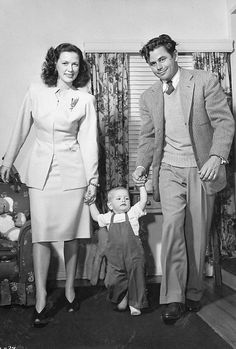 Glenn Ford, Eleanor Powell and their son Peter - photographed by Edward Cronenweth in their home (1946)