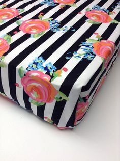 """Designer cotton crib sheet with black and white stripes with gorgeous flower print. Fits standard crib/toddler mattresses measuring 28""""x 52"""" Handmade in Phoenix AZ. Production time 2-3 weeks."""