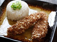Sesame Encrusted Baked Chicken Tenders. They were delicious tonight & the best part they were super easy and fast!