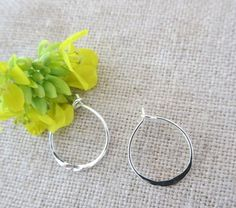 Lightly Hammered Mini Hoop in Sterling Silver by Wisteriaearrings