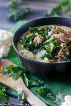 Low Carb, Keto Zuppa Toscana with Cauliflower (Paleo and Whole30) • Farmstead Chic