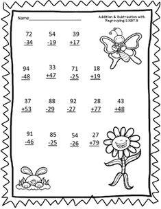 2.NBT.5 2 Digit Addition and Subtraction Owl worksheet