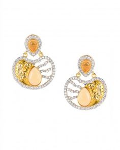 Apple Shaped Earrings with Citrine Stone Top