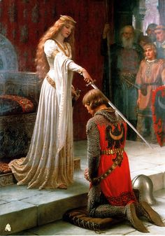 Order of the Bath - Wikipedia - A painting by Edmund Leighton depicting a fictional scene of a knight receiving the accolade Renaissance Kunst, Renaissance Paintings, Italian Renaissance Art, Classic Paintings, Old Paintings, Rennaissance Art, Historical Art, Famous Art, Baroque Art