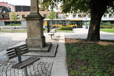 """The wayside cross near the bus stop of """"The Square""""."""