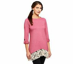 LOGO Lounge by Lori Goldstein French Terry Top with Lace Trim