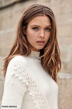 Getting her closeup, Josephine Skriver poses in a white sweater for Vero Moda's fall 2016 campaign