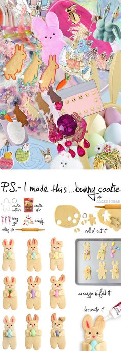 """We're never too old to stop loving the pretty pastels and signature sweets that are synonymous with Easter, and this year we're hopping into the kitchen with Patti Paige from Baked Ideas and author of """"You Can't Judge a Cookie by Its Cutter"""", to bring an adorable new twist to your basket. All it takes is a little cookie cutter creativity and some bright mini candies to create this holiday treat that's almost too cute to eat! To create: Roll out cookie dough until 1/4"""" thick then cut out circles and figures. We used a gingerbead man cookie cutter. Arrange figures on a baking sheet, leaving room for bunny ears. Cut the circles in half and press into the head to create ears. Shape ears as preferred. Place a piece of candy (we used Jordan Almonds, peanut M&Ms, jelly beans and Swedish Fish) at the chest and fold arms over. Bake the cookies as instructed. (P.S. - we like to let them get a little golden brown on the edges). Let cool completely. Decorate bunnies by adding in eyes, nose, whiskers and defining the inside of the ears with gel icing."""