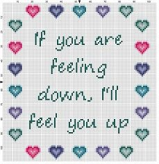 If you are feeling down, I'll feel you up - Funny Cross Stitch Pattern - Instant Download by SnarkyArtCompany on Etsy