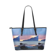 Sunrise in Tourelle Leather Tote Bag/Large (Model 1640)