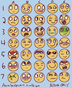 """aquaspidersart: """" I made my own facial expressions meme! Send characters and expressions to people who reblog this (unless they tell you not to, of course). Respect the artists' rules! Patreon """""""