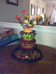 watermelon cake with fruit | fruit cake cake made of fruit watermellon honeydew cantalope kiwi ...