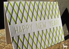 happy new year stripes letterpress holiday greeting card single