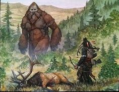One of the many mythological creatures said to wander the Frontier, the Bigfoot or Sasquatch is considered a myth by most who wander the land. Fantasy Creatures, Mythical Creatures, Mythological Creatures, Dark Fantasy, Fantasy Art, Bigfoot Pictures, Finding Bigfoot, Bigfoot Sightings, Bigfoot Sasquatch