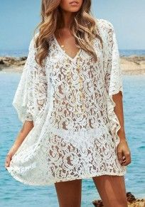 White Lace Design V-neck Dolman Sleeve Loose One Piece Dress