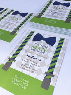 Little Man Birthday Invitations Bowties and by MyArrowsPaperShop