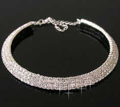Bling Bling Stunning Two Row Diamante Choker with extender WNF4XE5U
