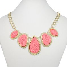 Natural Light Pink Druzy Necklace, Drop Necklace, Statement Necklace, Bib Necklace, Valentines Jewelry-128566688