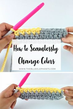 A quick and simple way to change colors in crochet every time. This basic tutori… A quick and simple way to change colors in crochet every time. This basic tutorial covers changing colors at the beginning of a row, and in the middle! Crochet Stitches For Beginners, Crochet 101, Crochet Basics, Learn To Crochet, Free Crochet, Double Crochet, Crochet Humor, Crochet Projects For Beginners, Basic Crochet Stitches