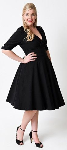 Unique Vintage Plus Size 1950s Style Black Delores Sleeved Swing Dress