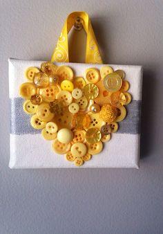 Handmade heart button art, mosaic buttons  by MosaicTreasureBox on Etsy