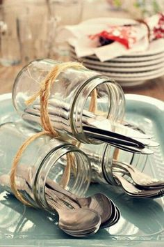 Decoration tip for the cutlery when you go out and . - # if Decoratie tip voor het bestek als je buiten gaat e… – Decoration tip for the cutlery when you go out and … – # cutlery going - tisch Deco Buffet, Deco Table, Dining Buffet, Deco Champetre, Wedding Decorations, Table Decorations, Centerpieces, Tablescapes, Party Planning