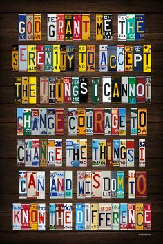 Serenity Prayer Recycled License Plate Lettering by designturnpike