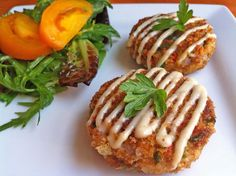 Salmon Cakes: one 5 oz package of drained, boneless, skinless salmon, 4 Tbs of vegetable oil, 1 Tbs of red pepper, chopped fine, 1 Tbs of green pepper, chopped fine, 1 piece of whole wheat bread, torn into tiny pieces,1 Tbs of fresh parsley, chopped fine, 1/8 of tsp black pepper, 1 egg, slightly beaten, 1 Tbs of grated parmesan cheese 1/2 cup plain whole wheat bread crumbs 1/4 cup plain panko bread crumbs