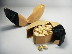 This packaging for pistachio nuts tells a narrative in every detail. The shape and opening mechanism is a reference to pistachios themselves.