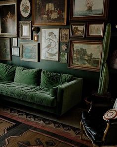 looks-absolutely-fabulous-with-its-eclectic-decor-dark-green-velvet-lounge-amazing-art-wall-with-an-equally-amazing-collection-of-art-total-st/ SULTANGAZI SEARCH Living Room Green, Cozy Living Rooms, Green Dining Room, Green Living Room Furniture, Dark Furniture, Velvet Lounge, Salons Cosy, Salon Interior Design, Interior Design Color Schemes