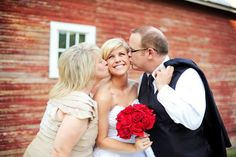 mom and dad kiss bride on check. cute wedding photo idea saltandlightphoto.com