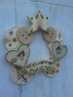 Pyrography Wood Wreath Ideal Home Decoration by LeafyLionCrafts