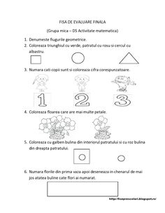 FISE de evaluare FINALA grupa mica | Fise de lucru - gradinita Numbers Preschool, Preschool Math, Preschool Worksheets, Kindergarten, Montessori Activities, Activities For Kids, Homeschool, Teacher, Google