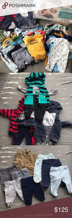 Assorted NB Clothes (Boy) Hi there 👋🏽 Thanks for viewing this listing ! 🙂  - 1 Boppy Pillow - 8 NB hats - 12 Pairs of Mittens  - 5 Sleep suits ( Elephant sleep-suit can also be worn as a sleep sack )  - 8 Pants  - 3 full outfits - 20 onesies  - 2 shirts - 1 Romper  P.S Opened to REASONABLE offers  ✔️NO returns , exchanges , trades or PayPal  ✔️FREE SHIPPING !! Ships same day to 3 days MAX ! Child Of Mine , Carter's & Gerber One Pieces Bodysuits