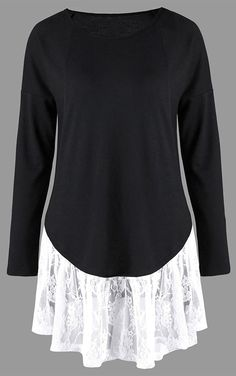 Long Sleeve Lace Panel Tunic Top