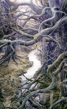 Alan Lee's Lord of the Rings Artwork / Gimli, Legolas, Aragorn in Fangorn